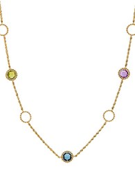 Lord And Taylor Swiss Blue Topaz Amethyst Peridot Citrine London Blue Topaz 14K Yellow Gold Pendant Necklace Multi