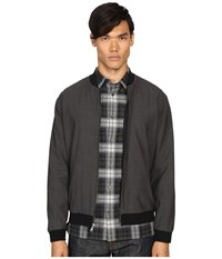 Vince Worsted Wool Reversible Bomber Jacket Heather Steel Black