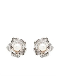 Lord And Taylor Sterling Silver Freshwater Pearl Flower Earrings