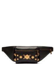 Versace Medusa Coin Plaque Leather Belt Bag Black