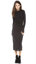 Enza Costa Ruched Long Sleeve Dress Charcoal
