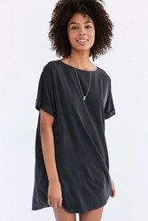 Silence And Noise Silence Noise Cupro Boat Neck T Shirt Dress Washed Black