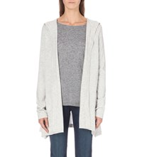 The White Company Hooded Wool Cardigan Pale Grey Marl