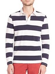 Saks Fifth Avenue Long Sleeve Rugby Polo Navy White