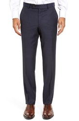 Ted Baker Men's London Jefferson Flat Front Check Wool Trousers Blue