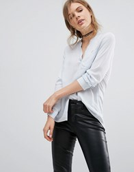 Vero Moda Collarless Blouse Blue