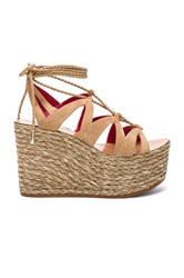 Pura Lopez Lace Up Wedge Tan