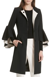 Milly Selena Ruffle Sleeve Coat Black Cream