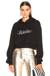 Rodarte Radarte Script Embroidery Cropped Hoodie In Black