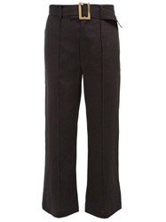 Lisa Marie Fernandez Belted High Rise Cropped Linen Trousers Black