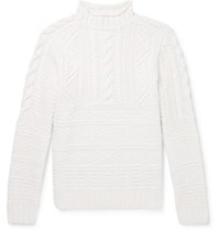 Ralph Lauren Purple Label Cable Knit Wool And Cashmere Blend Mock Neck Sweater Ivory
