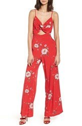 Lush Twist Front Cutout Jumpsuit Red Floral