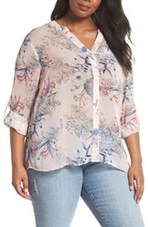 Kut From The Kloth Plus Size Women's Jasmine Floral Roll Sleeve Top Pale Pink