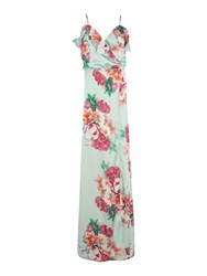 Jessica Wright Thin Straps Plunging Maxi Dress With Floral Print Multi Coloured Multi Coloured