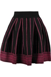 Maje Pleated Jacquard Knit Cotton Blend Mini Skirt Burgundy