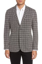 Vince Camuto Men's Del Aria Slim Fit Check Knit Jacket Charcoal Windowpane Boucle