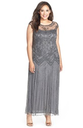 Pisarro Nights Illusion Yoke Embellished Cap Sleeve Long Dress Plus Size Smoke