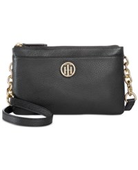 Tommy Hilfiger Double Zipper Pebble Leather Crossbody Black
