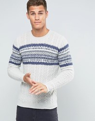 United Colors Of Benetton Cable Knit Jumper With Fair Isle Panel Oatmeal 902 Beige