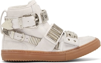 Toga Pulla Ssense Exclusive White Suede Silver Buckle Gumsole Sneakers