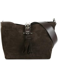 Salar Tassel Detailing Shoulder Bag Brown