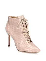 Alexandre Birman Mally Python Lace Up Booties Soft Nude