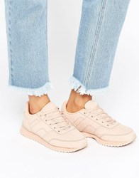Pull And Bear Pullandbear Nude Lace Up Trainer Nude Pink