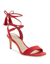 424 Fifth Giovanna Suede Sandals Deep Red