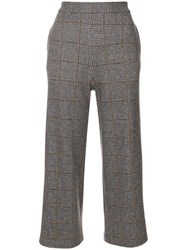 Fabiana Filippi Houndstooth Check Cropped Trousers Silk Viscose Cashmere Polybutylene Terephthalate Pbt Grey