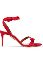Aquazzura Passion Bow Embellished Suede Sandals Red