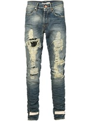 Off White Distressed Straight Leg Jeans Blue