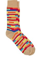 Richard James Men's Broken Stripe Mid Calf Socks Tan