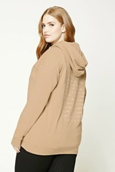 Forever 21 Plus Size Embroidered Hoodie Tan White