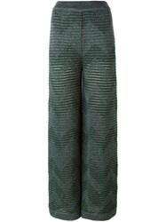M Missoni Zigzag Knitted Pants Green