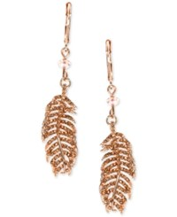 Lonna And Lilly Rose Gold Tone Crystal Feather Drop Earrings