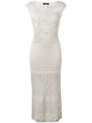 Twin Set Perforated Detail Dress Nude Neutrals