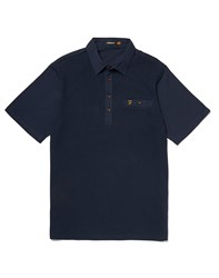 Farah Vintage Polo Shirt With Textured Front Navy
