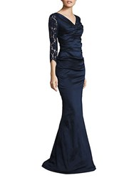Teri Jon Ruched Lace Gown Navy