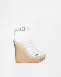 Ravel Strappy Wedge Sandals White