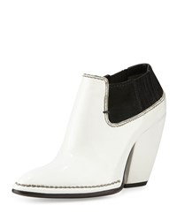 Cnc Costume National Pointed Toe Patent Leather Bootie White Black