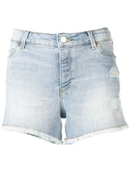 Emporio Armani Frayed Denim Shorts Blue