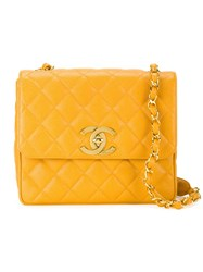 Chanel Vintage Quilted Crossbody Bag Yellow And Orange