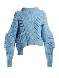 Stella Mccartney Cable Knit Cropped Sweater Blue