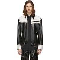 Sankuanz Black And White Leather Chain Jacket