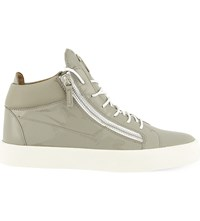Giuseppe Zanotti Mid Top Patent Leather Trainers Grey