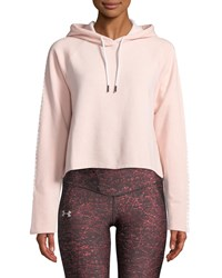 Under Armour Microthread Fleece Cropped Hoodie Pink White