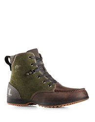 Sorel Leather Lace Up Mid Rise Boots Peatmoss