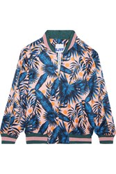 Sjyp Steve J And Yoni P Embroidered Printed Satin Bomber Jacket Blue