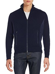 Saks Fifth Avenue Zip Front Wool And Cashmere Cardigan Navy