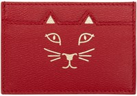 Charlotte Olympia Red And Gold Kitty Card Holder